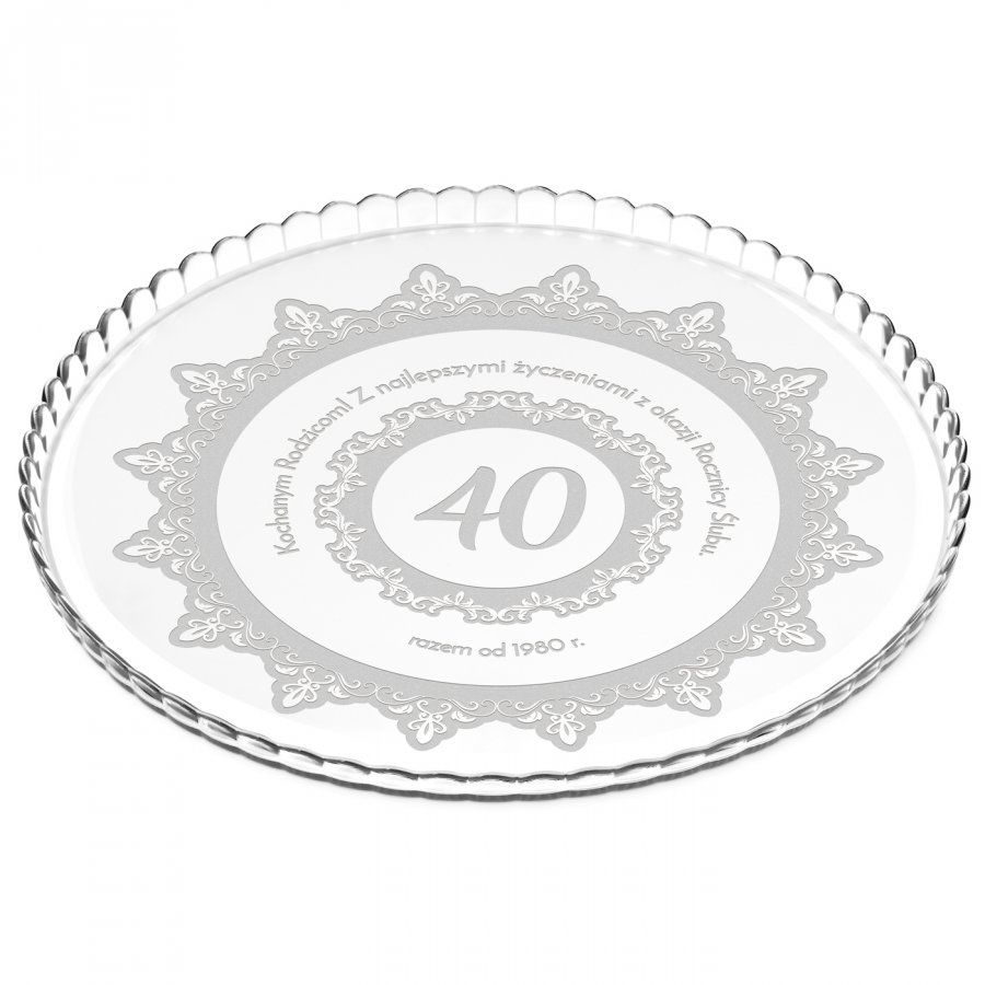 Patera szklana na ciasto bez nóżki grawer dla rodziców na 40 rocznicę