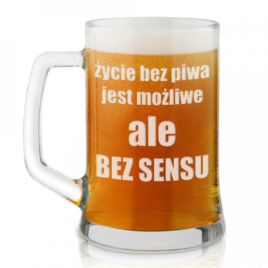 Kufel szklany do piwa z grawerem dla piwosza