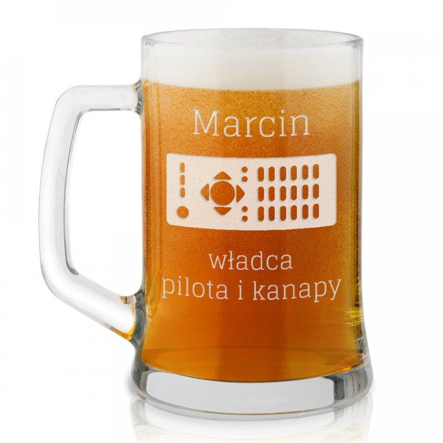 Kufel szklany do piwa z grawerem dla kinomana lenia piwosza