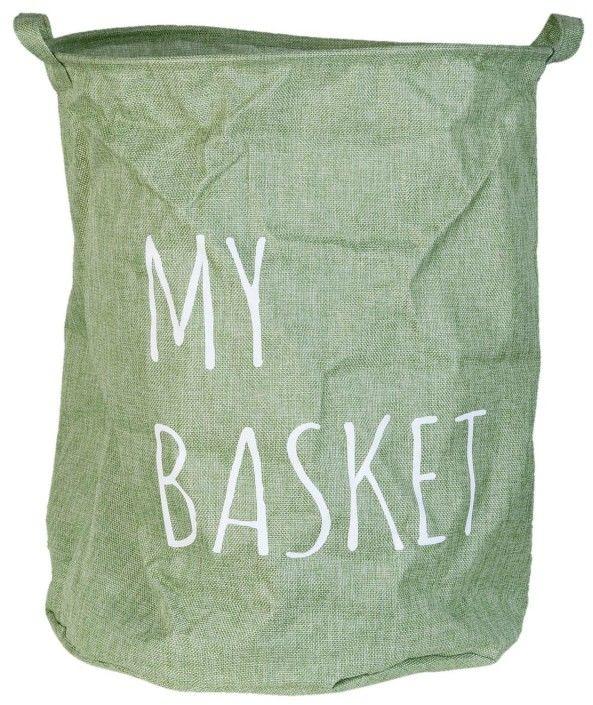 Kosz na pranie materiałowy MY BASKET, szary kosz na zabawki