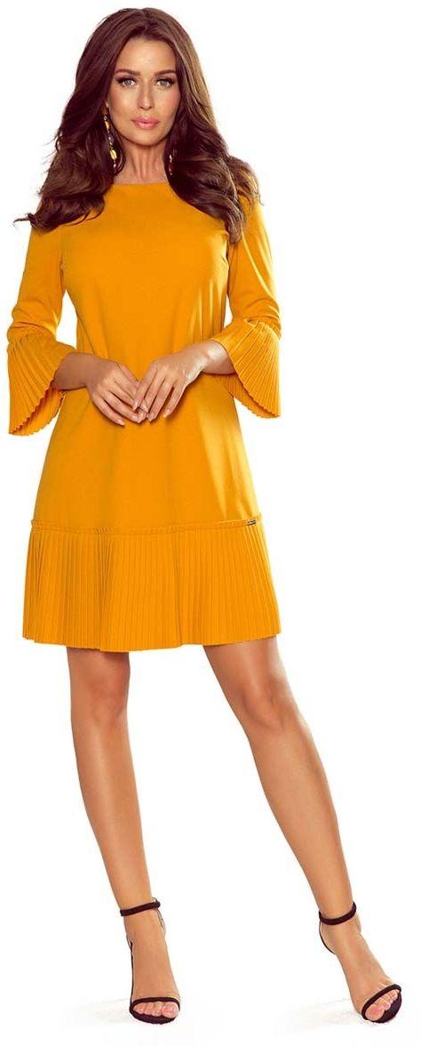 Musztardowa sukienka wizytowa z plisowanymi falbankami