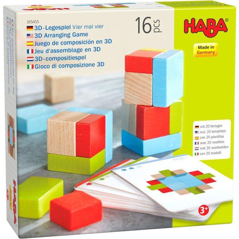Drewniana układanka i klocki dla dzieci Cztery na cztery 3D HB305455-Haba, gry zręcznościowe