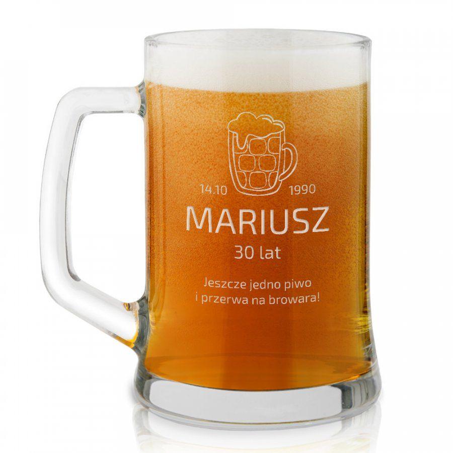 Kufel szklany do piwa z grawerem dla piwosza na 30 urodziny