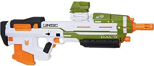 Nerf 0 Halo MA40 Blaster z silnikiem  w zestawie zdejmowany klips, 10 oficjalnych rzutków Elite i mocowany wspornik szyny