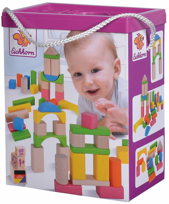 Eichhorn 100088021 60 kolorowych i naturalnych elementów drewnianych w pudełku do przechowywania ze sznurkiem i pokrywką, certyfikat FSC, 100% certyfikowane drewno bukowe, dla dzieci od roku