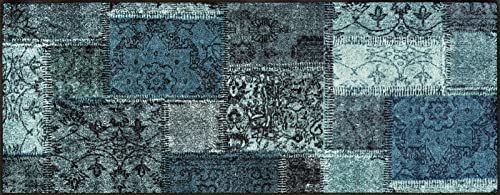 Wash + Dry Vintage Patches Turkusowa wycieraczka, akryl, zielony, 75 x 190 x 0,7 cm