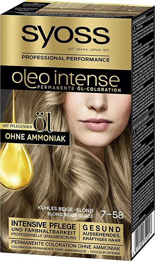 SYOSS Oleo Intense 7-58 trwała farba do włosów w kolorze chłodnego beżu, z pielęgnującym olejkiem i bez amoniaku, 3 sztuki (3 x 115 ml)