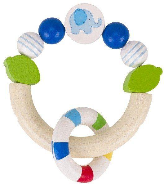 Drewniana grzechotka gryzak dla niemowląt Niebieski słonik na piłce, 764440-Heimess