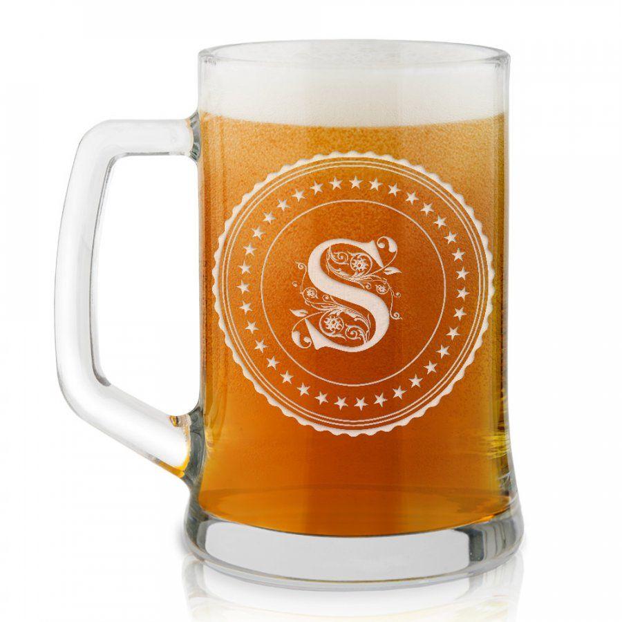 Kufel szklany do piwa z grawerem inicjał dla gentlemana