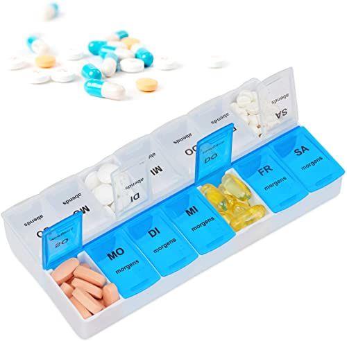 Relaxdays, Biało-niebieski pojemnik na tabletki na 7 dni, 2 przegródki, rano, wieczór, cotygodniowa puszka na tabletki do domu i w podróży, standard