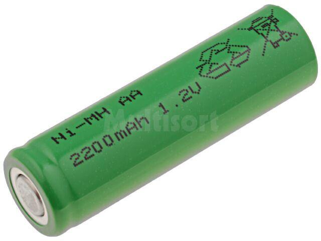 Akumulator Ni-MH AA 1,2V 2200mAh O14,5x48,7mm niski+