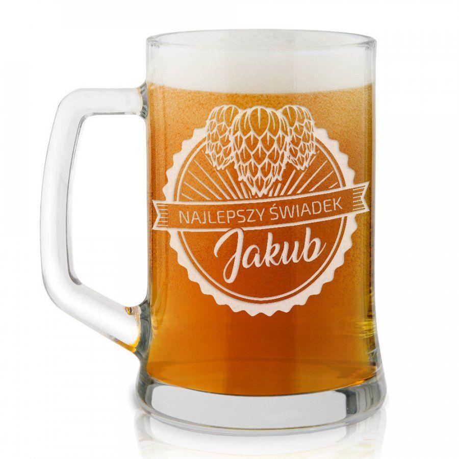 Kufel szklany do piwa z grawerem dla świadka