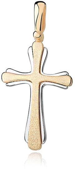 Krzyżyk srebrny, pr.925. - złocony i satynowany