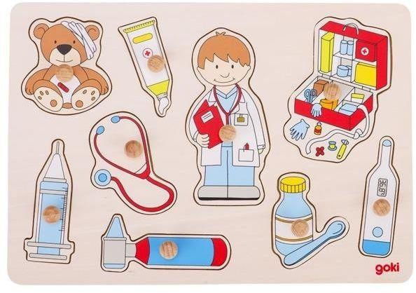 Układanka z uchwytami, Wizyta u doktora 57748-Goki, zabawki drewniane