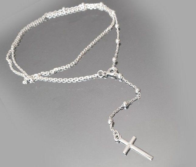 1142 łańcuszek z srebrny 925 z krzyżykiem różaniec
