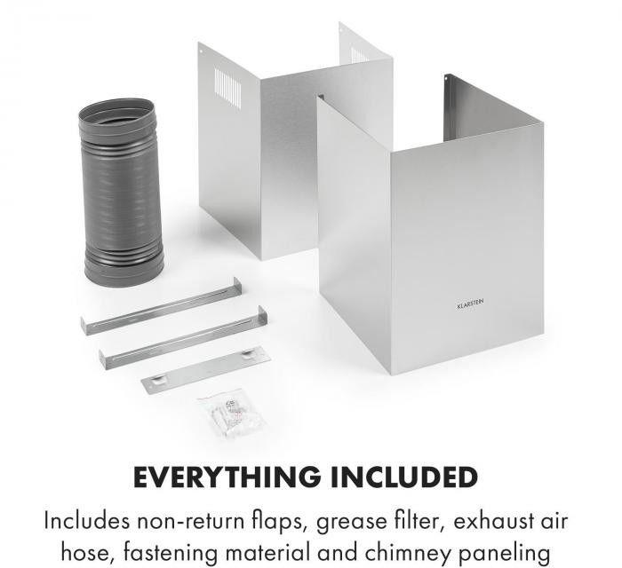 Klarstein Luna, okap kuchenny, tryb odprowadzania powietrza odlotowego (wyciąg) 420 m3/h, stal szlachetna, srebrny/czarny