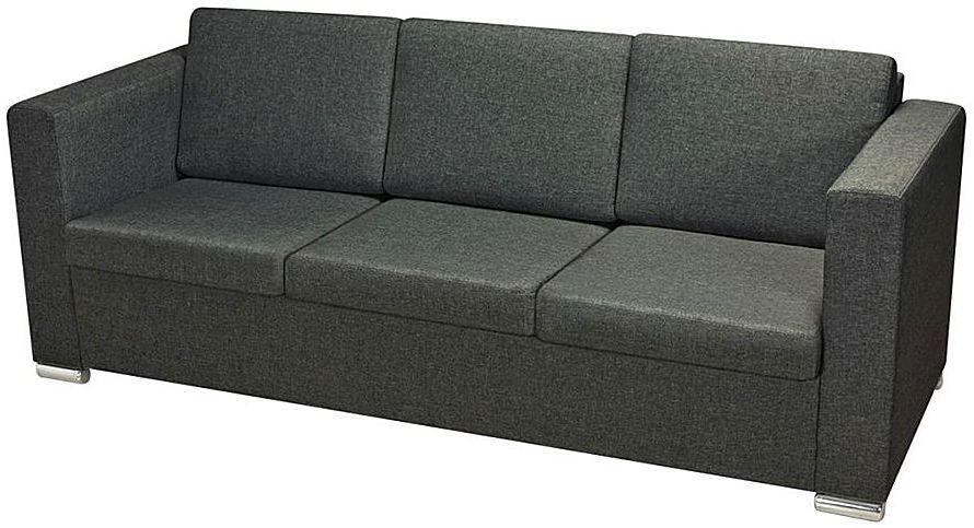 Trzyosobowa ciemnoszara sofa loftowa - Sigala 3Q