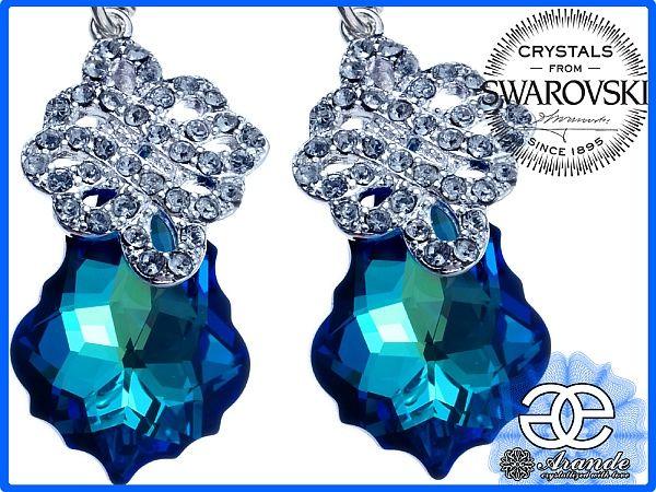 SWAROVSKI SPECIAL kolczyki BERMUDA BLUE SREBRO