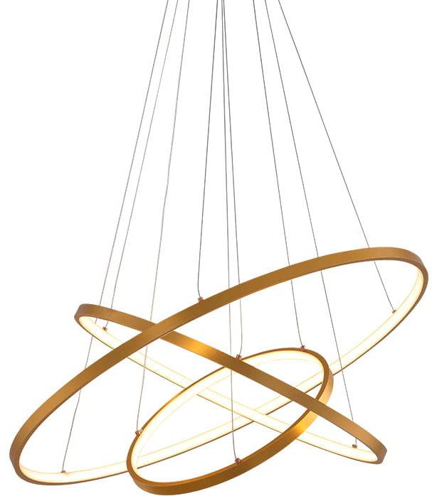 Gold LED ring triple - żyrandol 70cm - trzy pierścienie LED złoty mat