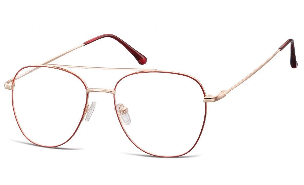 Oprawki okulary Pilotki zerówki korekcyjne 922C czerwono-złote