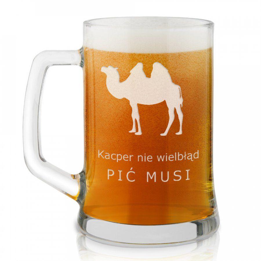 Kufel szklany do piwa z grawerem wielbłąd dla piwosza