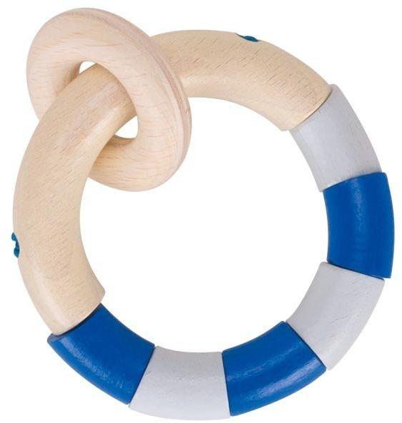 Drewniana grzechotka gryzak dla niemowląt Niebieski pierścień dotykowy, 764800-Heimess