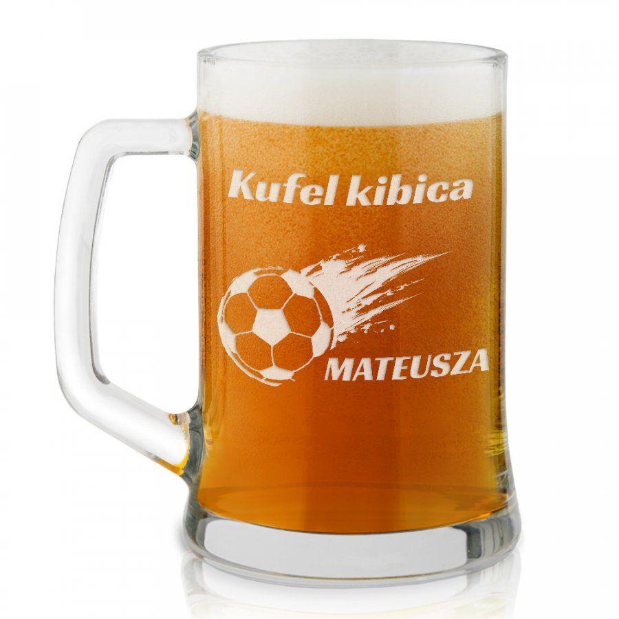 Kufel szklany do piwa z grawerem dla kibica