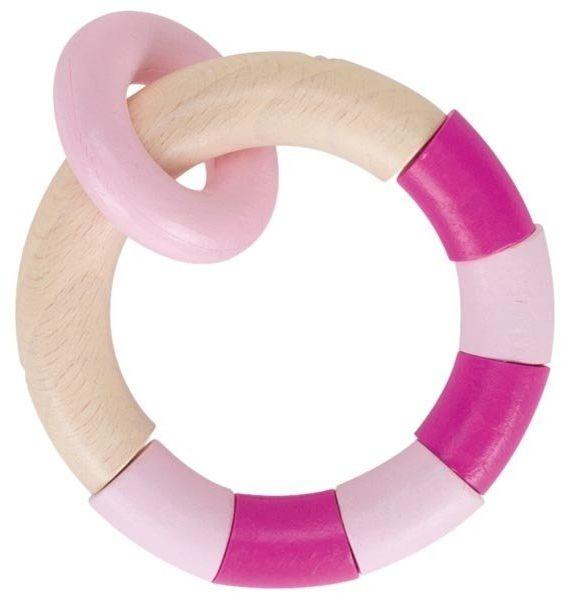 Drewniana grzechotka gryzak dla niemowląt Różowy pierścień dotykowy, 764810-Heimess