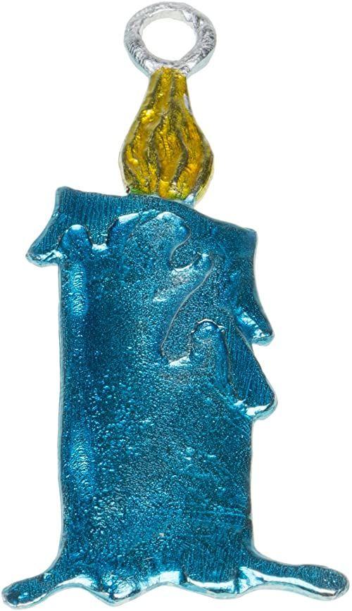 Dziubka cyna świeca zawieszka bożonarodzeniowa, niebieska