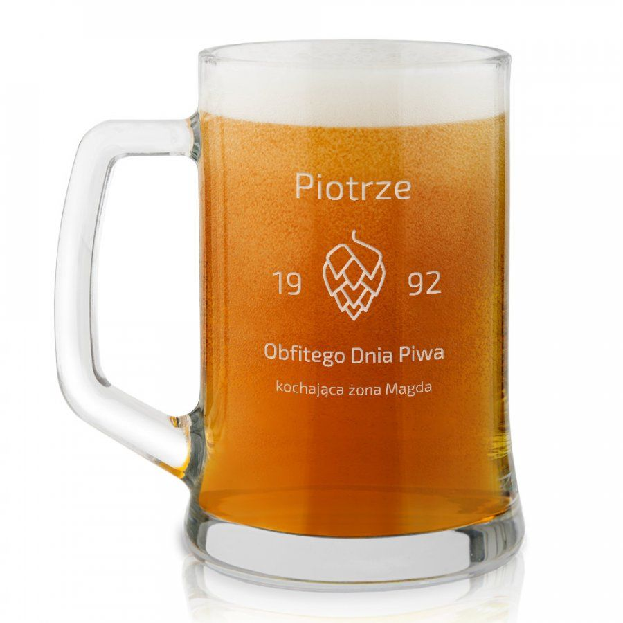 Kufel szklany do piwa z grawerem dla piwosza z okazji Dnia Piwa