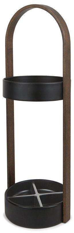 Umbra - stojak na parasole hub - czarno-orzechowy - orzech włoski