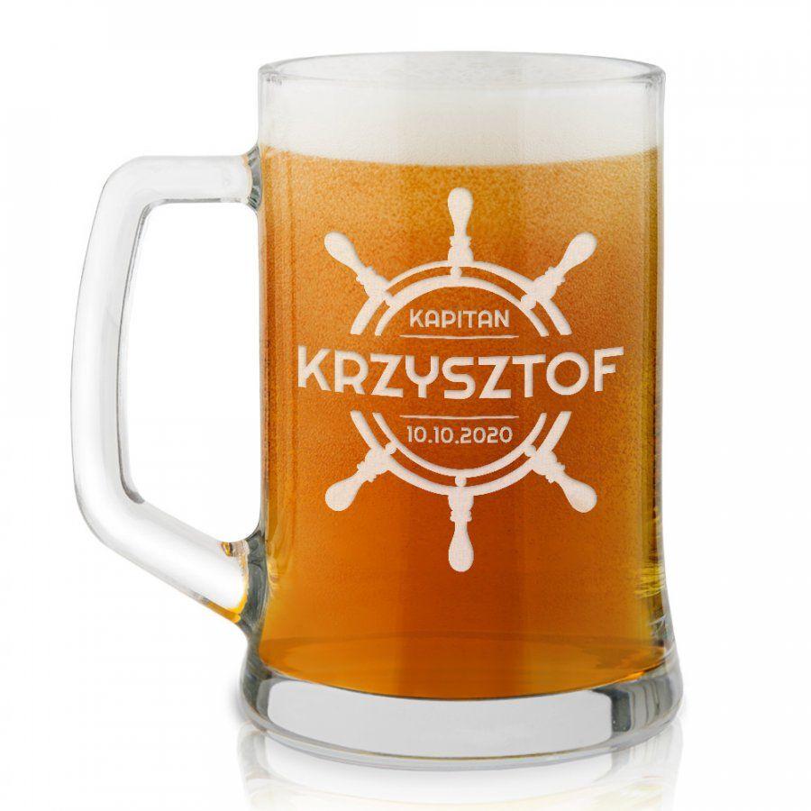 Kufel szklany do piwa z grawerem dla kapitana podróżnika żeglarza
