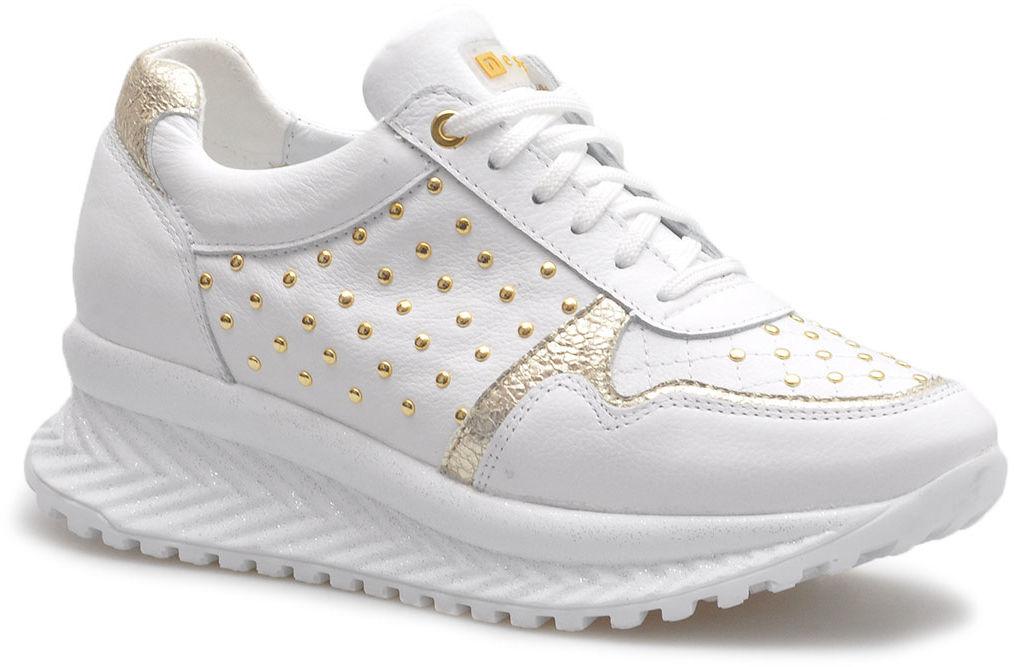 Półbuty Nessi 20680 Białe/Złote lico
