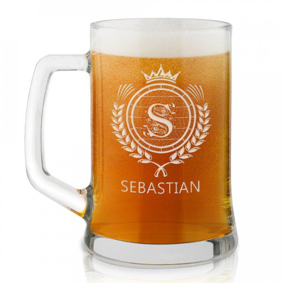 Kufel szklany do piwa z grawerem inicjał dla niego
