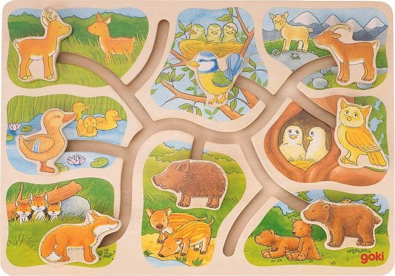 Układanki dla dzieci labirynt Leśne zwierzęta 57749-Goki, puzzle drewniane