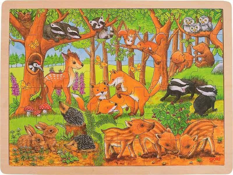 Puzzle drewniane Mieszkańcy lasu 57734-Goki, układanki dla dzieci