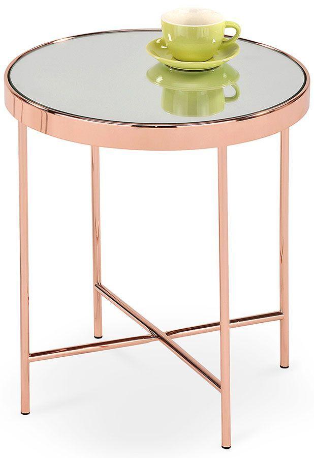 Okrągły stolik szklany z efektem lustra Lilla - miedziana