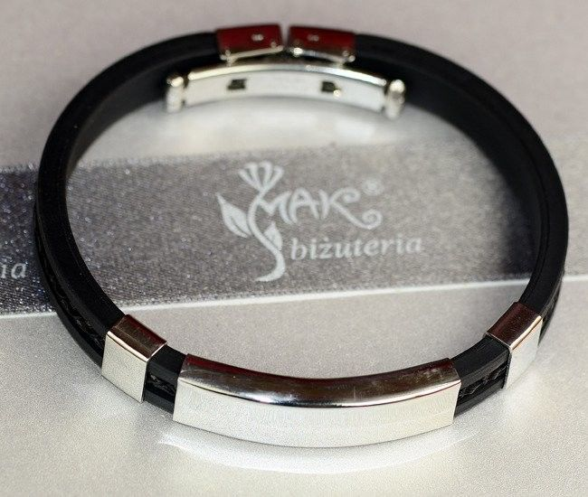 MAK-Biżuteria BR610 BRANSOLETKA Z GRAWEREM męska kauczuk skóra czarna