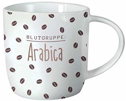 Grafik-Werkstatt 61424 filiżanka do kawy z sentencją 300 ml porcelanowa filiżanka zabawna grupa krwi Arabica
