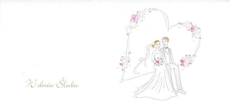 Karnet Ślub DL S19 - Para Młoda serce
