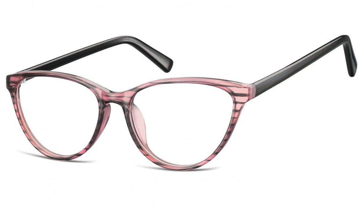 Oprawki korekcyjne okulary Kocie Oczy zerówki Sunoptic CP127 różowo-czarne