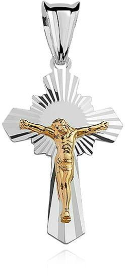 Krzyżyk srebrny, pr.925. - złocony, diamentowany