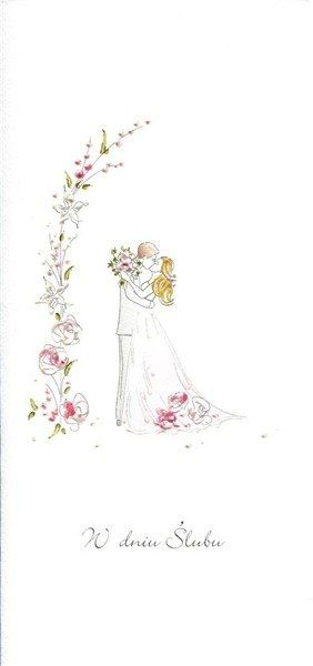 Karnet Ślub DL S22 - Para Młoda róż