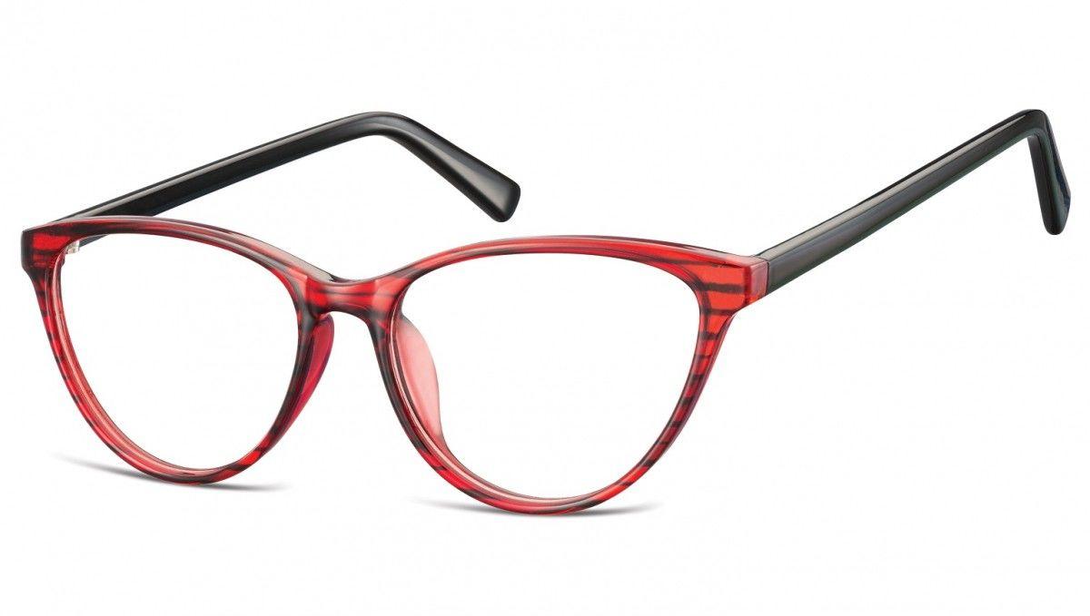 Oprawki korekcyjne okulary Kocie Oczy zerówki Sunoptic CP127A czerwono-czarne