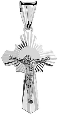 Krzyżyk srebrny, pr.925. - diamentowany
