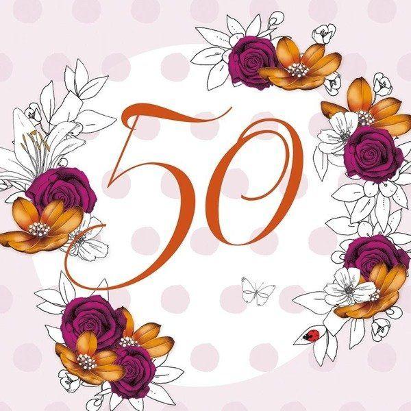 Karnet Swarovski kwadrat CL1450 Urodziny 50 kwiaty