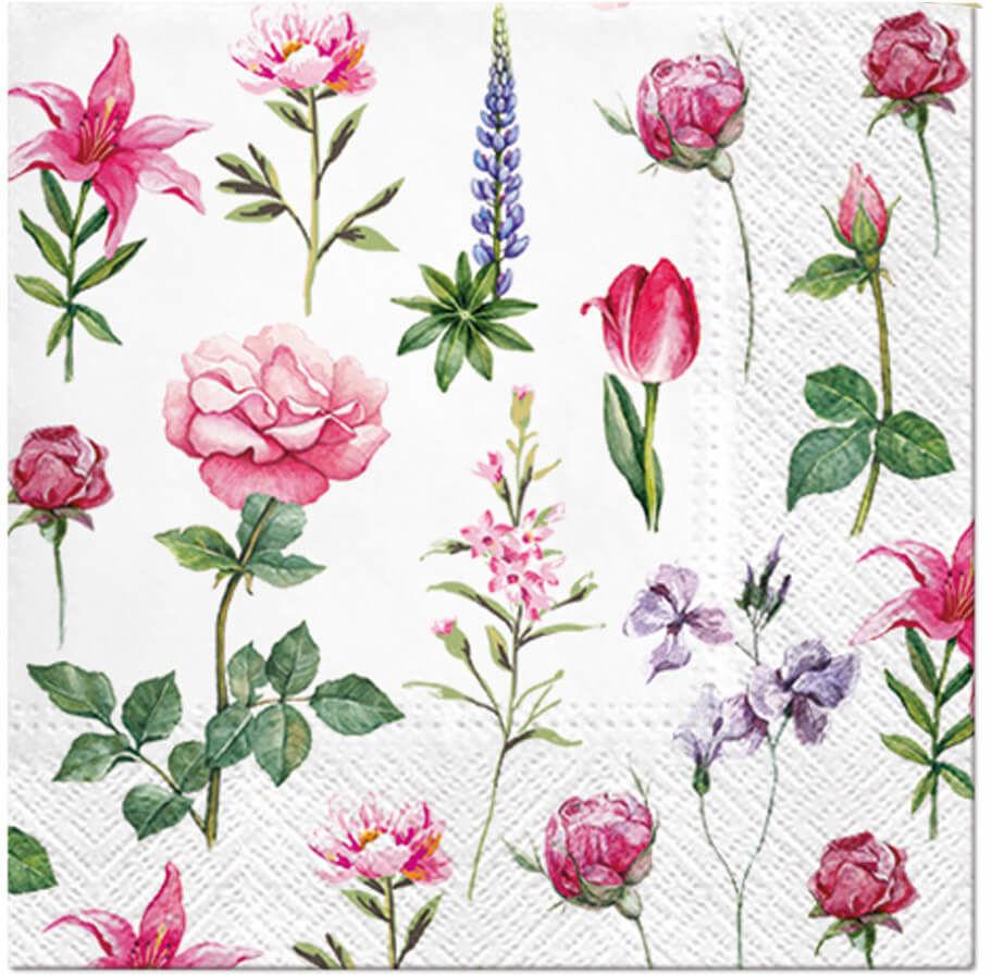 Serwetki Ogrodowe Kwiaty - 33 cm - 20 szt.