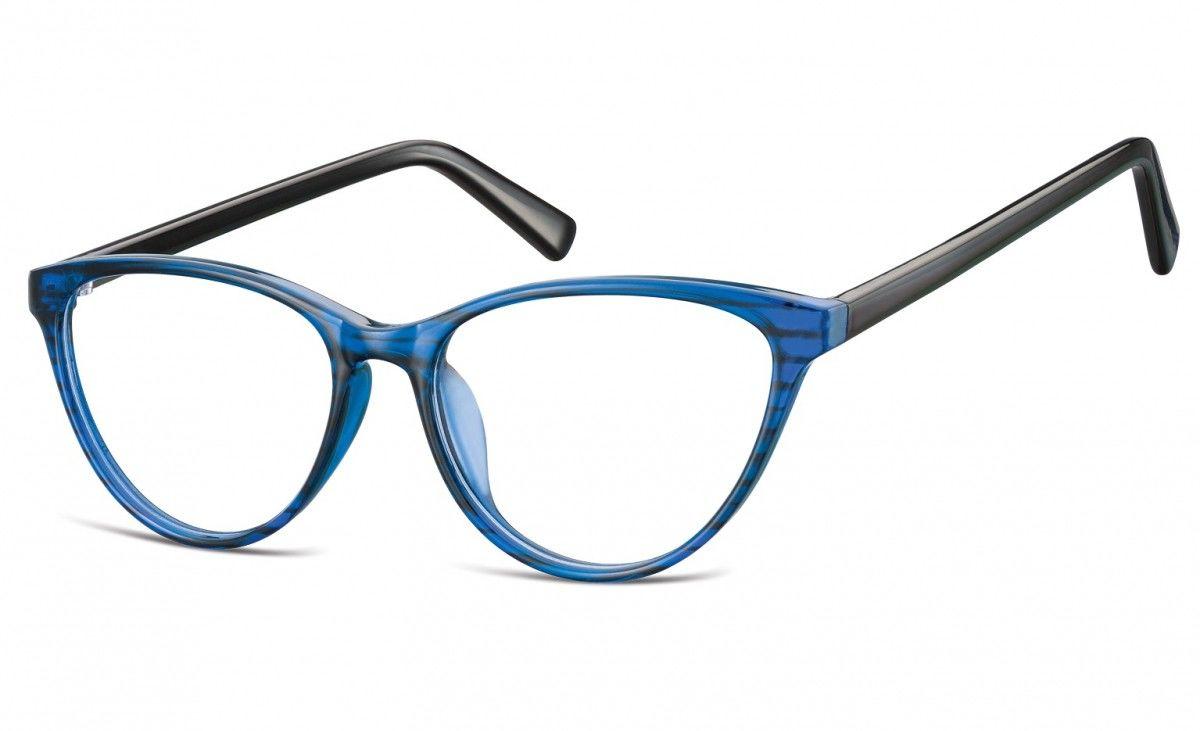Oprawki korekcyjne okulary Kocie Oczy zerówki Sunoptic CP127B niebiesko-czarne