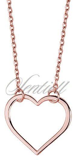 Srebrny naszyjnik pr.925 serce, różowe złoto