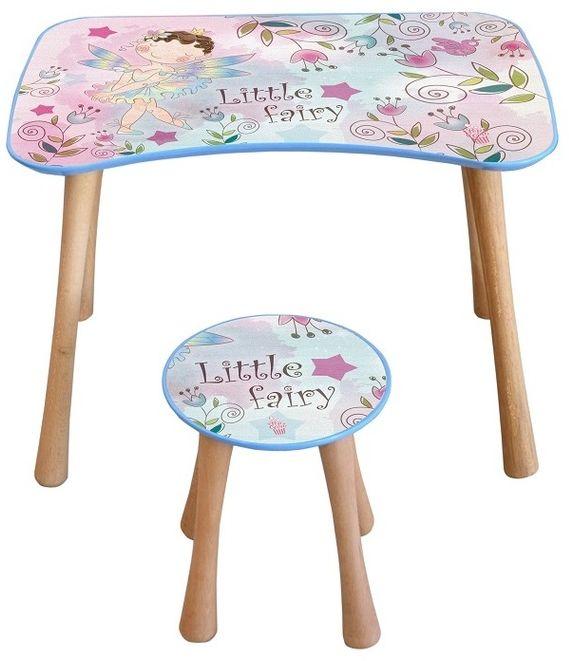 Stolik dziecięcy z krzesełkiem Wróżka kwiatowa, 65 x 41 x 47 cm